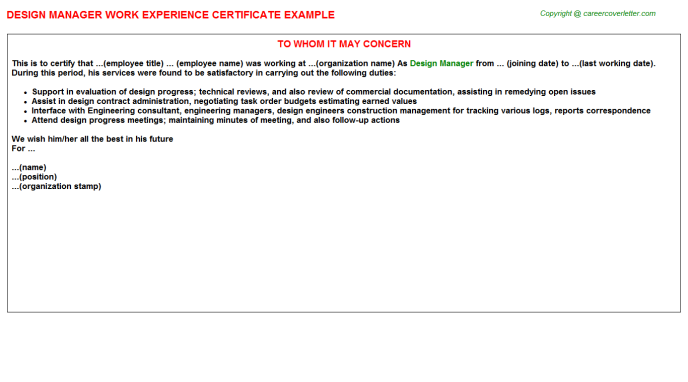 Design Manager Experience Letter Template