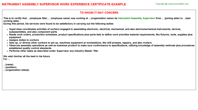 Instrument Assembly Supervisor Experience Letter Template