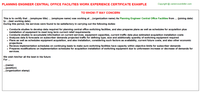 Planning Engineer Central Office Facilities Career Samples
