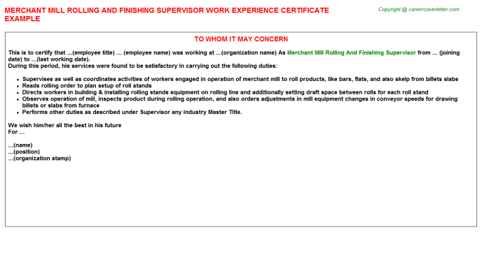 Merchant mill Rolling And Finishing Supervisor Experience Letter Template