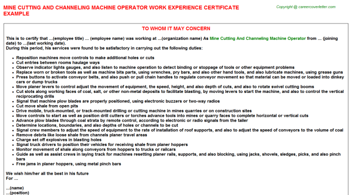 Mine Cutting And Channeling Machine Operator Experience Letter Template