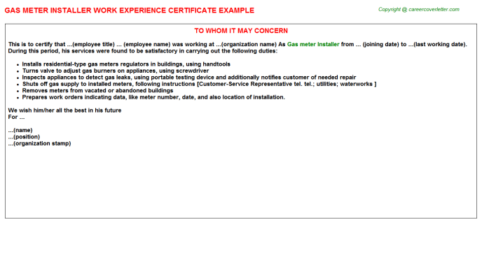 Gas meter Installer Experience Letter Template
