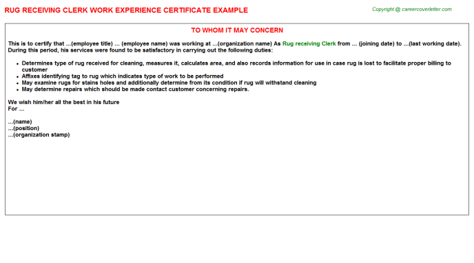 rug receiving clerk experience letter template