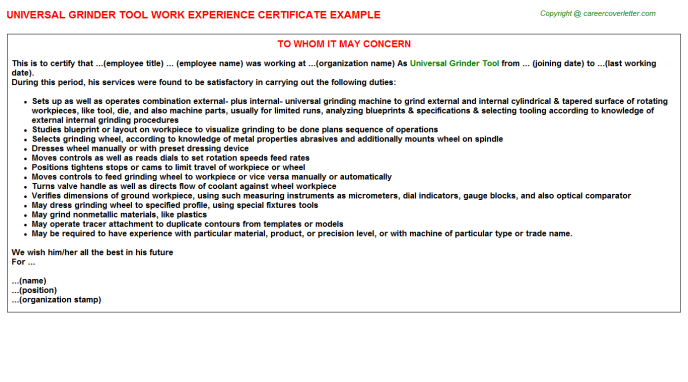 universal grinder tool work experience letter