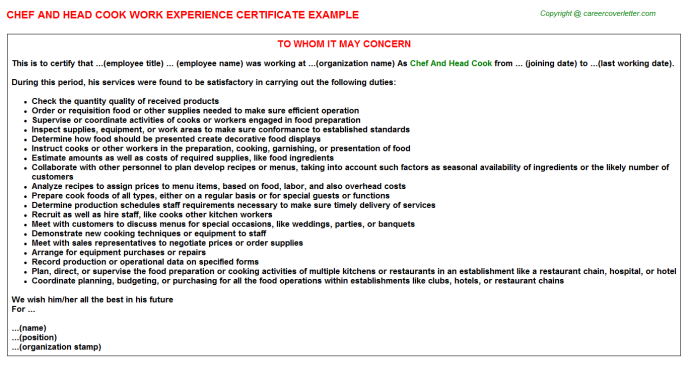 chef and head cook work experience letter