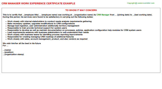 Crm Manager Experience Letter Template