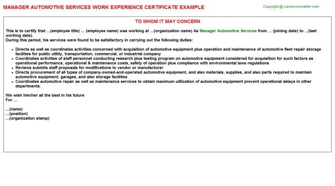 Manager Automotive Services Career Samples