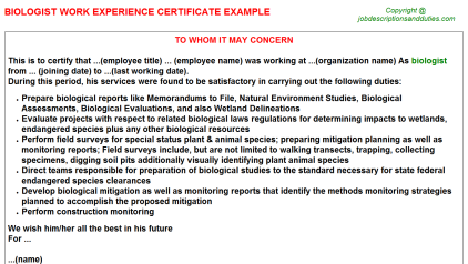 Biologist Work Experience Letter Template