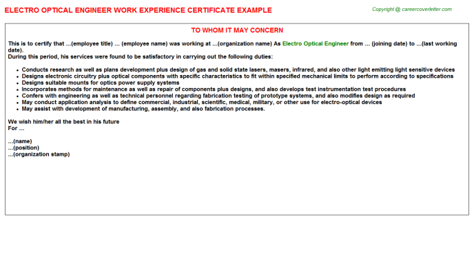 Electro Optical Engineer Experience Letter Sample