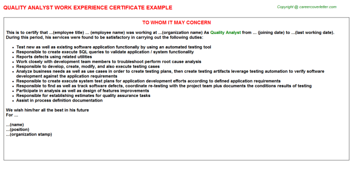 Quality Analyst Experience Certificate Template