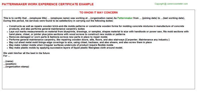Patternmaker Experience Letter Template