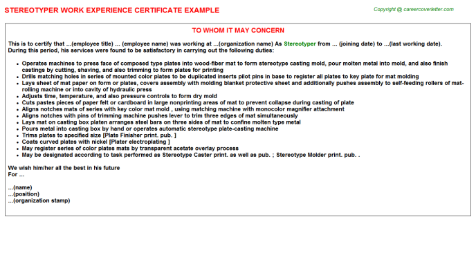Stereotyper Experience Letter Template