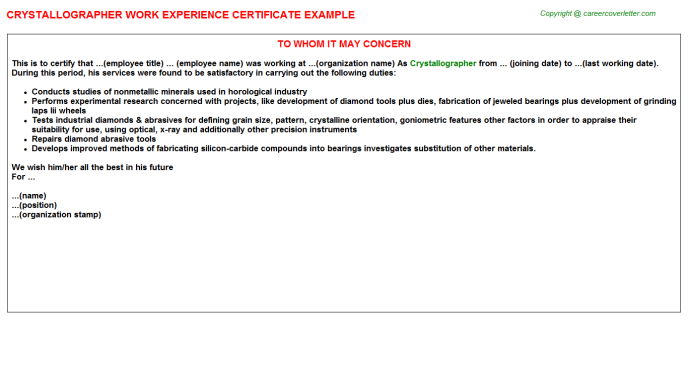 Crystallographer Experience Letter Template