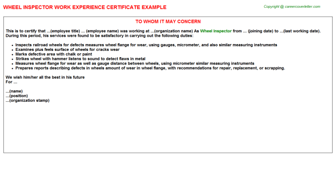 Wheel Inspector Experience Letter Template