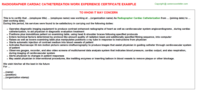 Radiographer Job Experience Letters Examples