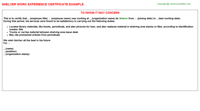 Shelver Experience Letter Template