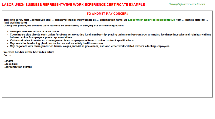 Labor Union Business Representative Experience Letter Template