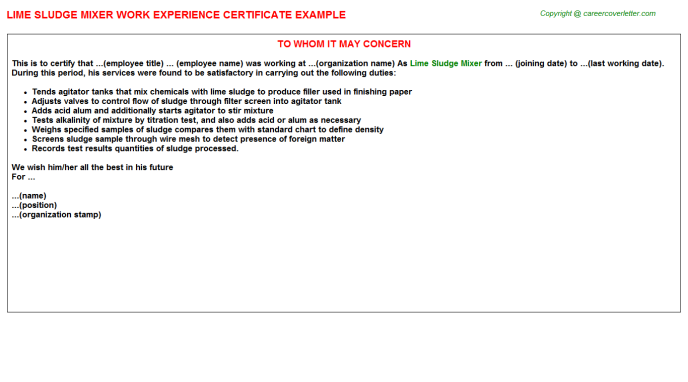 Lime Sludge Mixer Experience Letter Template