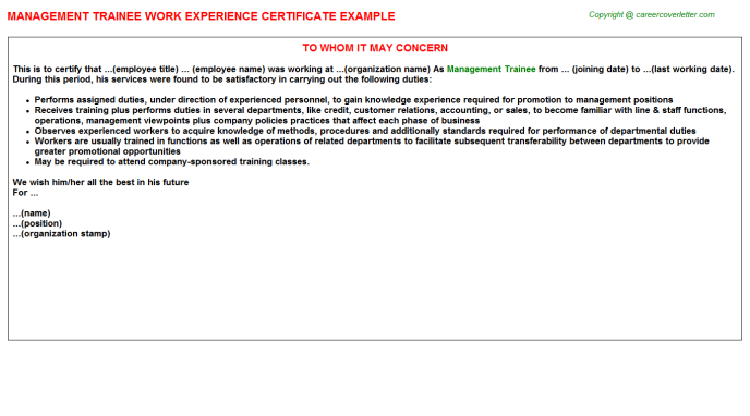 Management Trainee Experience Letter Template