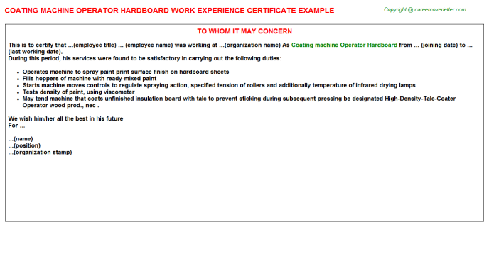 coating machine operator hardboard experience letter template