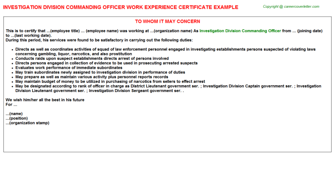 Investigation Division Commanding Officer Work Experience Letter