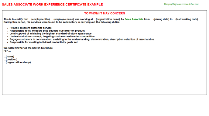 Sales Associate Experience Letter Template