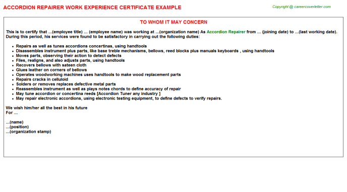 Accordion Repairer Experience Letter Template