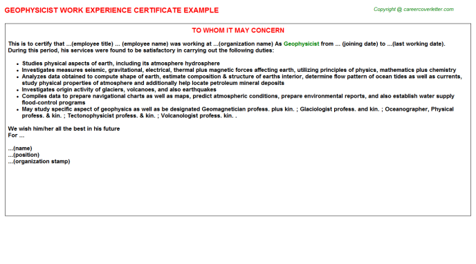 Geophysicist Experience Letter Template