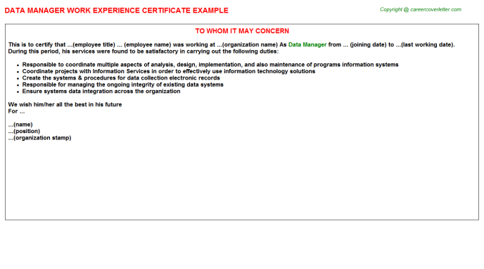 Data Manager Work Experience Certificate Template