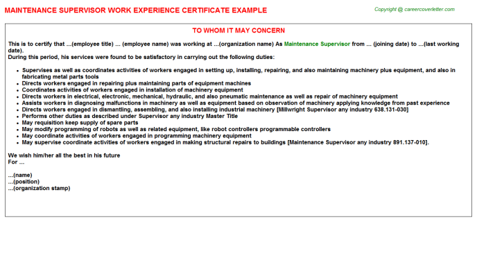 Maintenance Supervisor Experience Letter Template