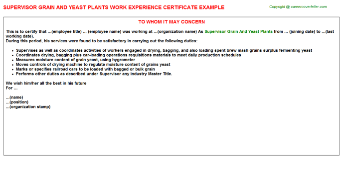 supervisor grain and yeast plants experience letter template