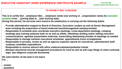 Executive Assistant Work Experience Letter Template