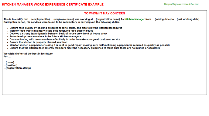 Kitchen Manager Experience Letter Template