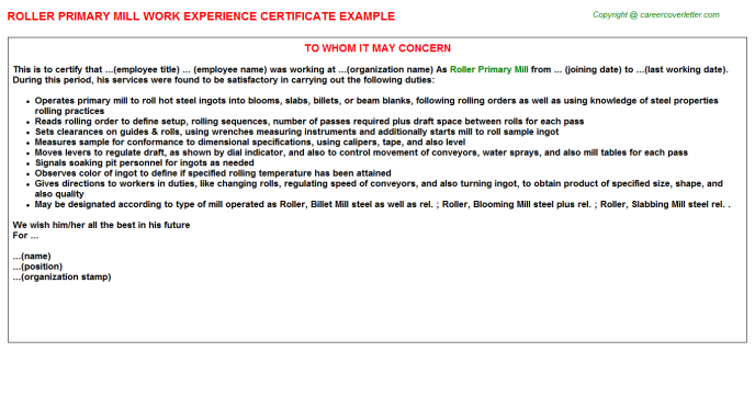 Roller Primary Mill Work Experience Letter