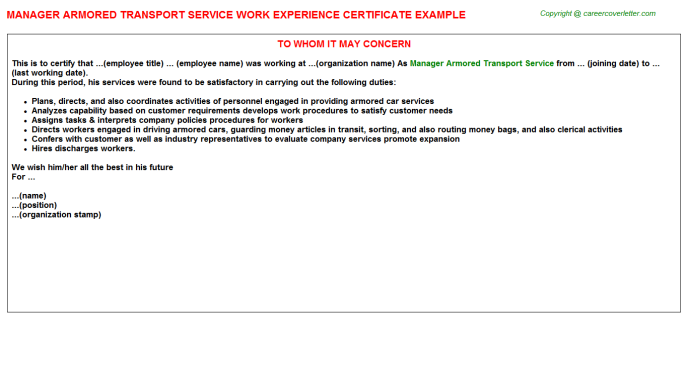 manager armored transport service experience letter template