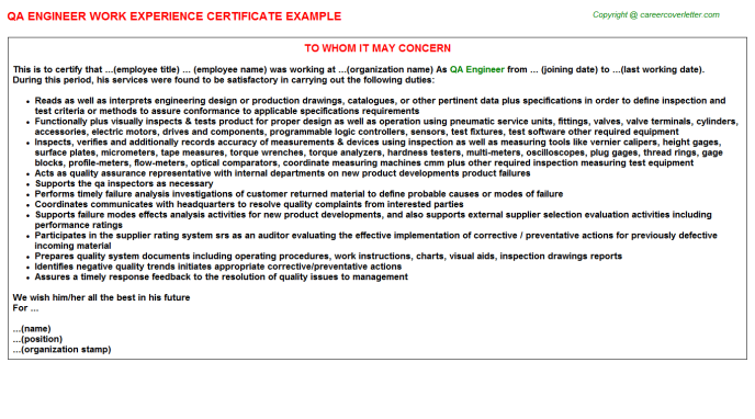 qa engineer experience letter template