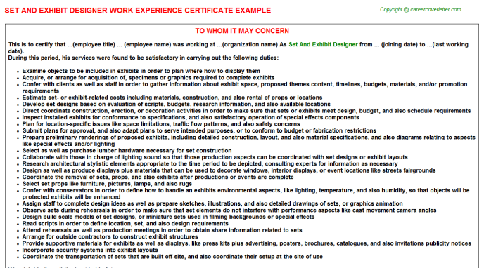 Set And Exhibit Designer Experience Certificate Template