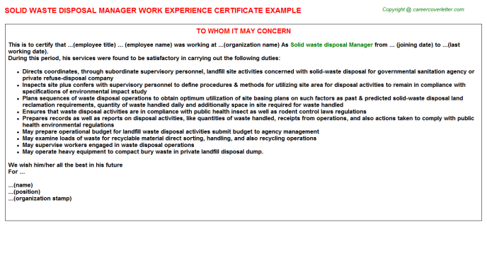 Solid Waste Disposal Manager Work Experience Letter