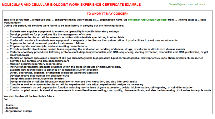 Biologist Postdoctoral Fellow Experience Letters