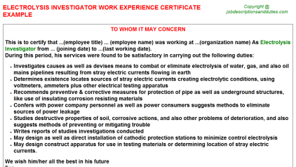 Electrolysis Investigator Work Experience Letter Template