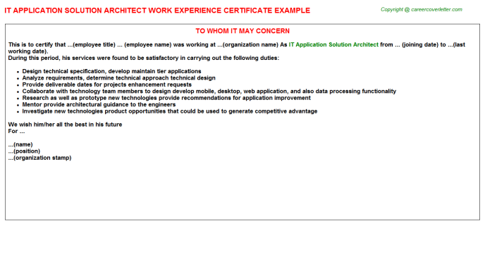 IT Application Solution Architect Job Experience Letter Template