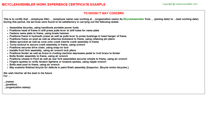 Bicycleassembler Experience Letter Template