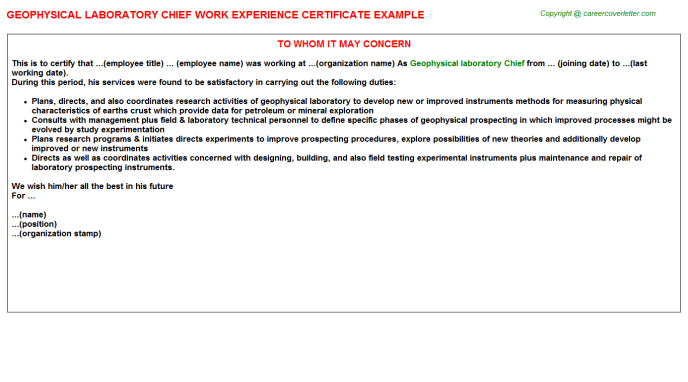 Geophysical laboratory chief work experience letter (#575)