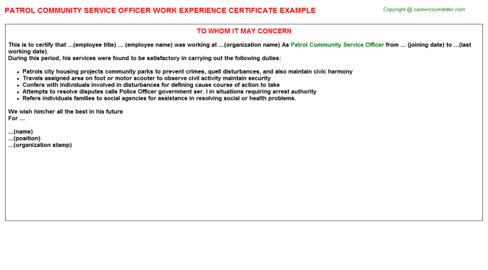 patrol community service officer experience letter template
