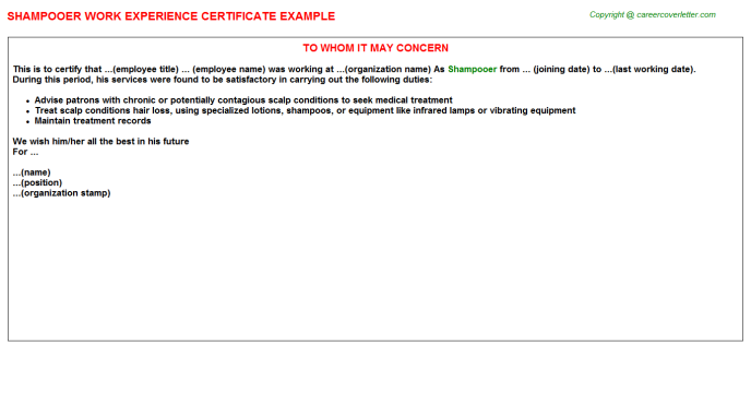 Shampooer Experience Certificate Template