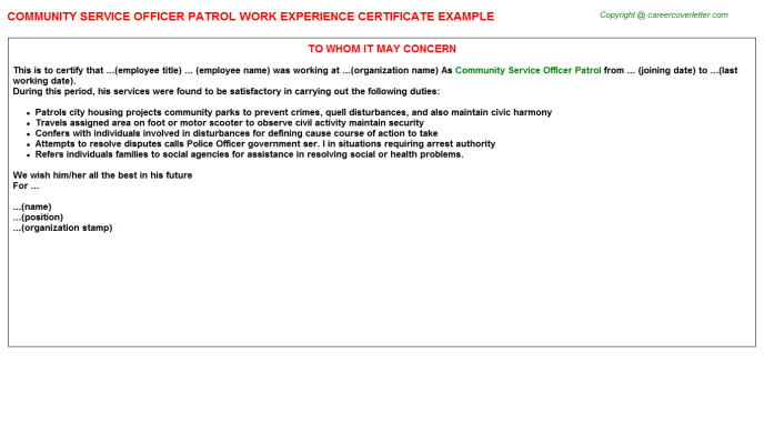 community service officer patrol experience letter template