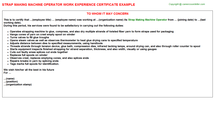 strap making machine operator experience letter template