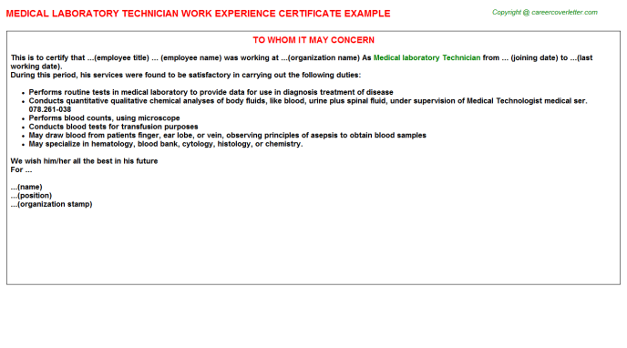medical laboratory technician work experience letter