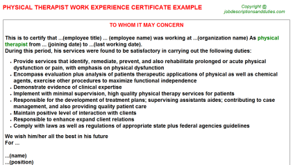 Physical Therapist Work Experience Letter Template