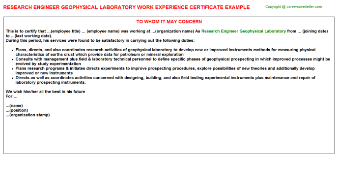 Research engineer geophysical laboratory work experience letter (#578)